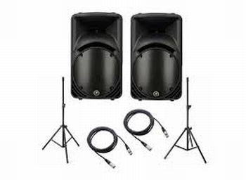"2x SRM450v2 Active powered 12"" speaker + stands"